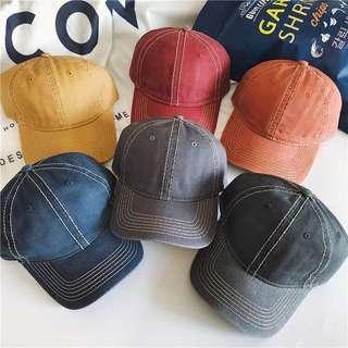 🚚 新款做舊水洗牛仔老帽鴨舌帽復古百搭棒球帽遮陽帽
