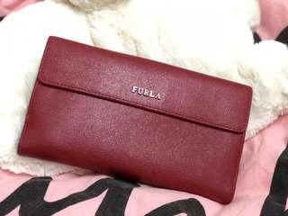 100% real Furla 紅色真皮長銀包