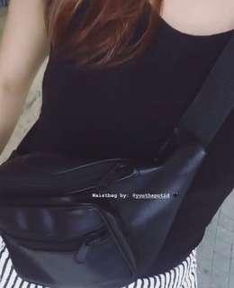 Black Leather Waist Bag Handmade NETT PRICE!