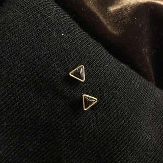 🚚 三角包邊黑鑽耳環