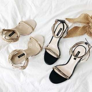 TC2564 Korea Strap High Heel Sandals (Black,Beige)