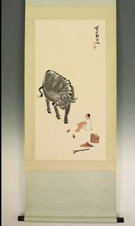 A Hand Painted On Paper cow and shepherd painting-195x73.7cm