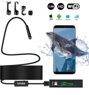 (413)WOWGO Endoscope Camera Wifi Wireless Borescope Inspection Camera IP 68 Waterproof Snake Camera with 8 Adjustable LED 3.5M Cable 1200P HD Picture for Android & IOS Smartphone, iPhone, Samsung