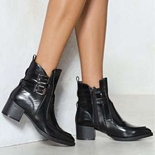 What the Buckle faux leather boot