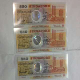 3 Singapore $50 Polymer 1990, Ef Aunc Condition