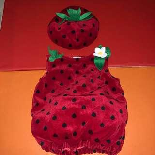 preloved kostum strawberry shortcake sz 9-12m