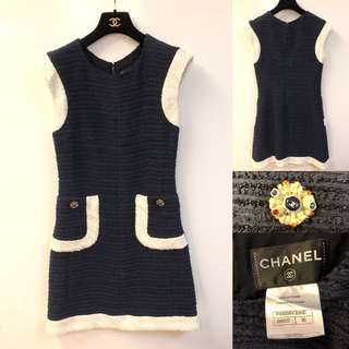 Chanel navy blue and white dress size 36