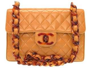 Vintage Chanel啡色羊皮菱格大cc玳瑁Jumbo flap bag 31x21x8.5cm