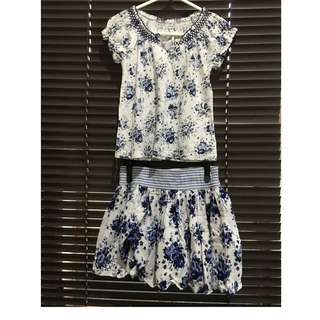 Floral Blouse & Skirt Set
