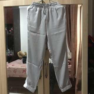 Grey white stripes pants