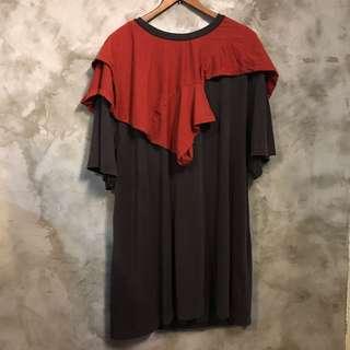 🚚 全新 日本製 SÏVA 寬鬆拼接短袖T恤 水洗色 深咖啡、磚紅 胸寬59 全長86