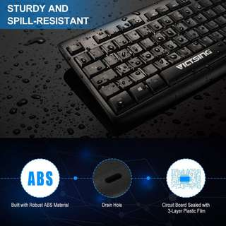 990. VicTsing Wired Keyboard 【104 Keys, 12 Multimedia Shortcuts, Home & Office】Ergonomic Comfortable USB UK Layout Keyboard, Durable Business PC Keyboard with Spill-resistant Design for MAC, Windows 10/8/7/Vista/XP, Linux – Black