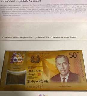 CIA 50 Singapore Brunei Commemorative Note (w original folder) ❤️