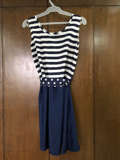 Blue Striped Dress with Polka Dotted Belt