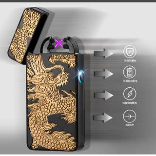 🚚 CARVED ELECTRIC LIGHTER  #DOUBLE ARC #LASER #WINDPROOF #USB RECHARGEABLE #CAROUPAY