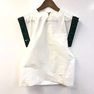 Toga white top with green stones size 1