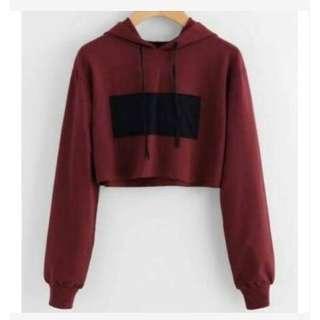 Sweater Hoodie Crop Basic Maroon Tali