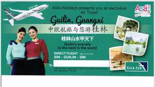 Return Air Ticket Voucher (SilkAir) from Singapore to Guilin (Guangxi/China) - DIRECT flight with no stops in between.