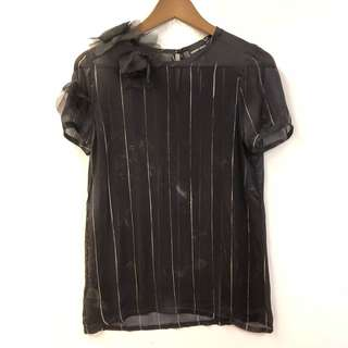 Giorgio Armani see through black silk top size 40
