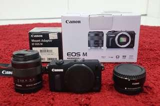 Canon eos M + efm 18-55 + efm - ef adapter