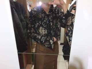 🚚 正韓 gazza 宮廷風領圍花卉圖騰雪紡襯衫