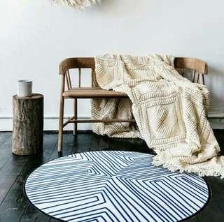 Nordic Blue Striped Round Shaped Carpet