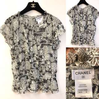 Chanel silk see through pattern top size 40