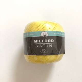 Satin sunshine yellow Color knitting and crochet thread yarn