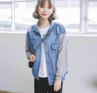 denim grey sleeve jacket