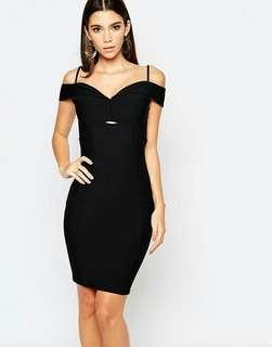 LIPSY X ARIANA GRANDE Black Bardot Bodycon Dress