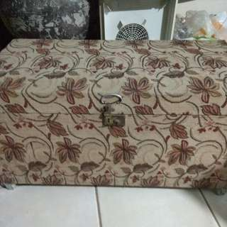 Vintage wood fabric floral box with wheels  made in japan