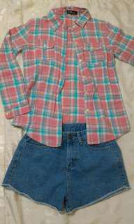 🚚 粉藍格紋襯衫