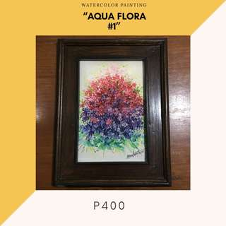 "Watercolor Painting - ""Aqua Flora #1"" (ready to hang)"