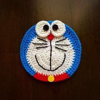 Doraemon crochet coaster