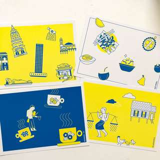 Illustration postcards Malaysia designs