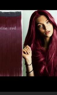 Wine red clip on straight hair extension * In excellent condition used twice comes with packaging as well *chat to buy if int *NOT FOR FUSSY BUYERS!