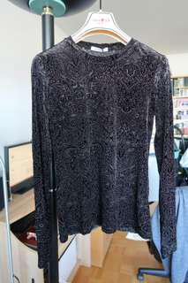 ZARA New with tags Black Velvet Top with Floral Design