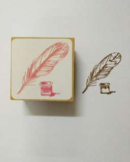 Feather Writing Rubber Stamp