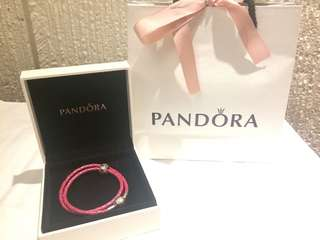 Authentic Pink Double Braided Pandora Bracelet with Flower Charm (with Original Box and Packaging from Canada)