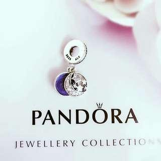 Pandora Charm: Night Sky Dangle Royal Blue Stars Moon