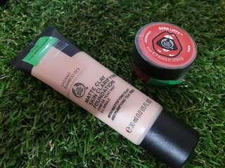 The Body Shop (foundation, lip balm)