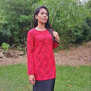 Red lace dress midi kurung