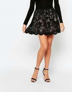 LIPSY x ARIANA GRANDE Black Lace Mini Skater Skirt