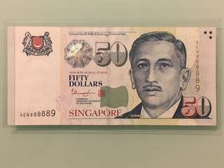 Fixed Price - Singapore Portrait Series $50 Paper Banknote 9 Head Tail Radar Numbers 988889