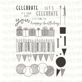 (Pre-order) 20Pcs Happy Birthday clear cling stamps