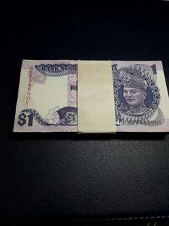Rm1 6th series Malaysia one stack.100 running no foxing original paper
