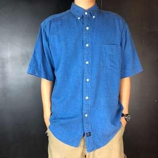 🚚 古著亮藍色素面短袖襯衫39