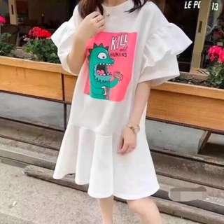 🚚 韓版 童趣恐龍荷葉邊洋裝