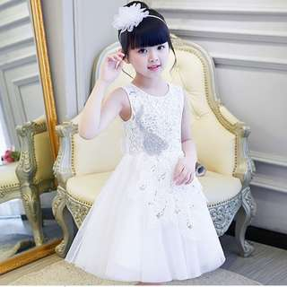 (Pre-order) Kids Princess Dress (White & Grey) #571