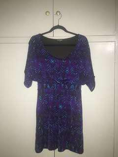 Express Purple Garterized Waist Open Sleeve Dress